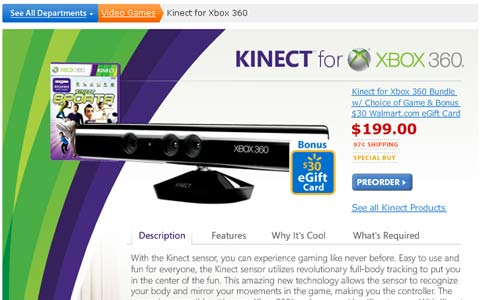 As Microsoft Stays Mum, Walmart Lists Kinect Price at $200